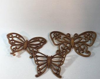 Vintage Butterfly Wall Decor, Homco, Set of 3