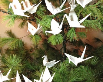 Large 9 1/2 Inch Tree Cranes, Origami Wedding, White Peace Crane, Origami Ornaments, Origami Decorations, Origami Cranes, Photo Backdrop