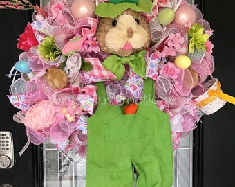Easter Wreath, Spring Wreath, Easter Decoration, Bunny Wreath, Front door wreath, Door Hanger, Wreath for Door, Ready to Ship