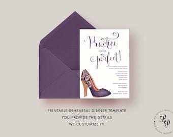 Vintage Rehearsal Dinner Invitation, Wedding Rehearsal Invitation, Printable Rehearsal Dinner Templates, Whimsical, Practice Makes Perfect