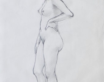 Original Life Drawing 3, Pencil, Nude Sketch, Dessin, Woman, Art, Simple, Croquis, Hand made, Kunst, Modern, large, standing position, Body