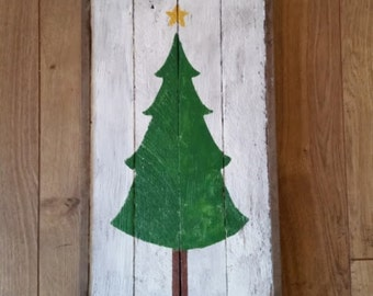 Rustic Christmas Tree Wood Sign, Holiday Decoration, Reclaimed Barn Wood, December Decor, white washed, framed sign