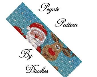 Peyote Beading pattern Bracelet Santa Claus and deer Christmas pattern peyote stitch Seed bead pattern beaded patterns beawork bead patterns