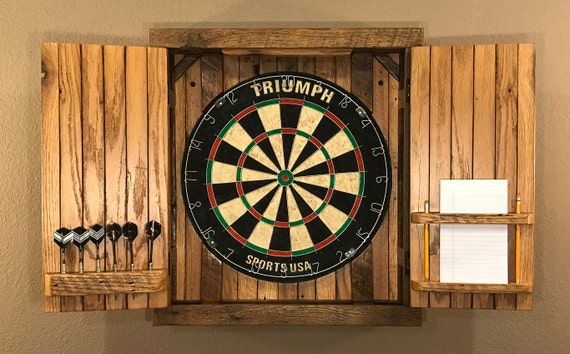 Natural Rustic Dartboard Cabinet Reclaimed Barn Wood Home