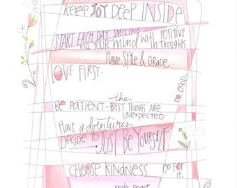 Tween art - Encouraging girls - Art for teens - Bedroom art - Wall art - Inspiring art - Stacey Foster - staceyfoster - kids room decor