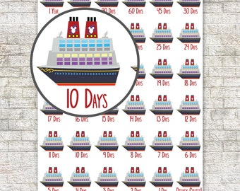 Mouse Cruise Vacation Countdown Stickers