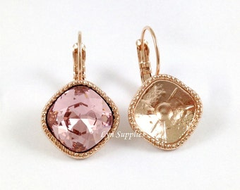 Rose Gold Cushion Earrings Settings 1 Pair Fit Swarovski Crystal 4470 12x12mm Glue On Nickel Free Leverback Decorated Edges