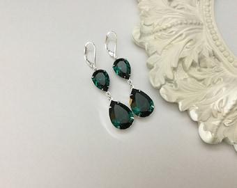 Emerald Swarovski Drop Earrings