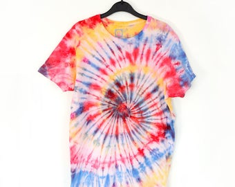 Spiral Red, Yellow and Blue Tie-Dye T-shirt
