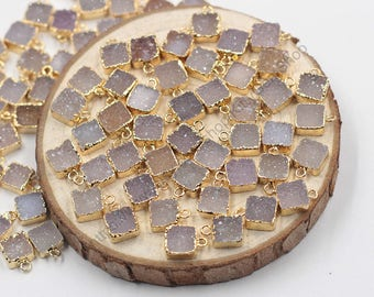 Wholesale 8mm Tiny Square Druzy Pendants -- With Electroplated Gold Edge Druzzy Drusy Geode Charms Wholesale Supplies Dainty CQA-002