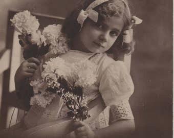 Pretty child, white hairband, girl photo, pretty girl, vintage beauty, Broderie Anglias, chrysanthemums, sepia portrait (rppc/ch434)