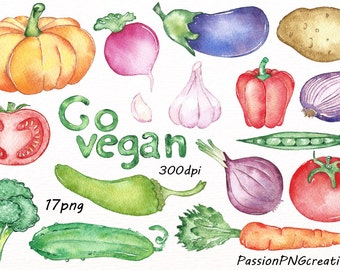 Watercolor Vegetables Clipart, Go vegan clip art, Digital Vegetables, food, PNG, Instant Download, For Personal and Commercial use