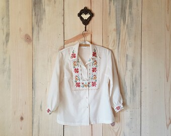 vintage 1970s blouse - 70s floral embroidery blouse - white button up blouse