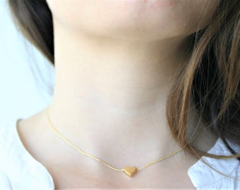 Choker with bath of gold more small heart