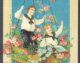 Antique Victorian Birthday Greeting Postcard Embossed Hot Air Balloon Children ca. 1910 German