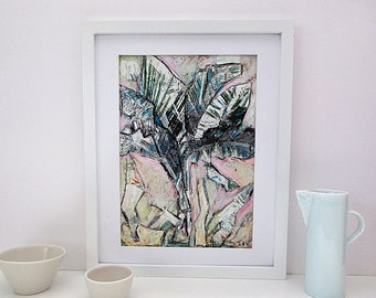 Modern Original Art, Palm Tree Drawing, Oil Pastels, Pastel Colours, Abstract Wall Art, Vertical A4, Unframed, Collage, Living Room, Bedroom