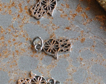 Small Sterling Silver Hamsa Charm,Hamsa Hand,Hand of Fatima,Hand of Hamsa,Hamsa Charms,12mm Hamsa, Flower Motif Hamsa, KP15-077, One Charm
