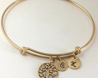Gold Tree of Life Bracelet, Expandable Family Tree Bracelet, Gold Bangle Bracelet,  Initial Bangle Bracelet Birthstone Bracelet gift for her