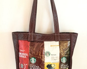African Starbucks Coffee Bag Faux Leather Fabric Shoulder Bag Handmade Gift for Her Coffee Lover Gift