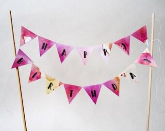 Printable Cake Topper HAPPY BIRTHDAY | Birthday Paper Garland | Happy Birthday Banner | Birthday Decoration | Mini Bunting