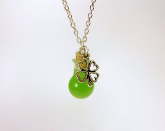 Potion of Luck Glass Vial Mini Bottle Necklace w/ Metal Four Leaf Clover Charm, Green, Magic, St. Patty's Day Jewelry, Glow in the Dark