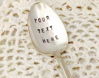 Customized Hand Stamped Spoon With Your Own Message Text Personalized Gift