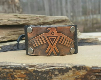 Leather Cuff Bracelet with Copper Etched Tribal Eagle Design- Custom Hand Made Cuff