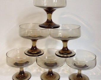 Vintage Set of Six Smoked Glass Dishes 1960's