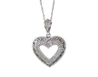 Vintage 10K White Gold Diamond Heart Pendant Necklace