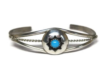 Vintage Navajo Shadowbox Turquoise Cuff Bracelet 6 Inches