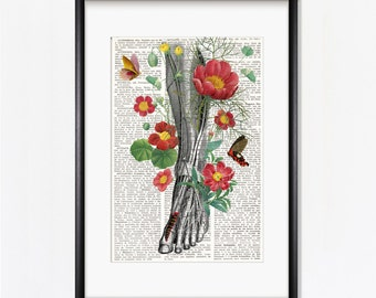 LEG AND FLOWERS, Human anatomy art, anatomy art, art prints, anatomical, human foot, leg, podiatrist, Podiatry, surgeon, chiropodist, #211