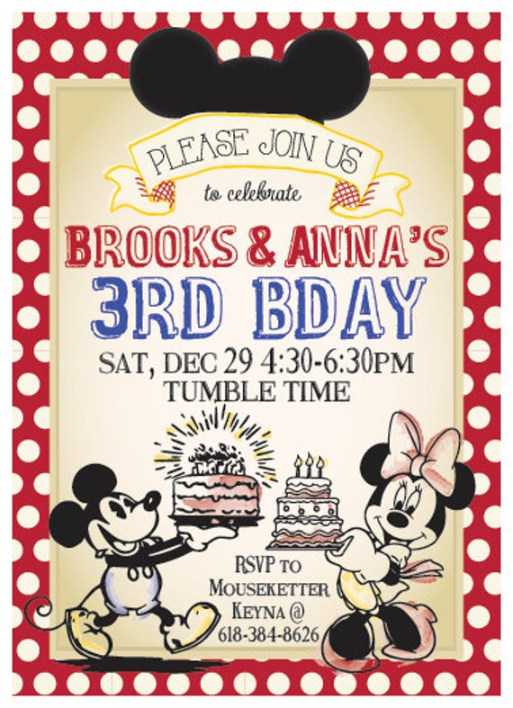 Classic Mickey Mouse or Minnie Mouse Birthday Invitation (DIGITAL COPY)