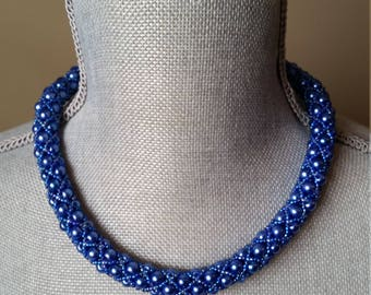 Blue, Tubular Netted, Necklace, Cobalt, Royal, Netted Necklace, Rope Necklace, Bridesmaids, Prom, Necklace,Statement, Formal, Filled Netting