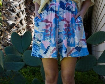 Retro Printed Colorful Cotton High Waisted Flowy Shorts with Elastic Waistband and Pockets