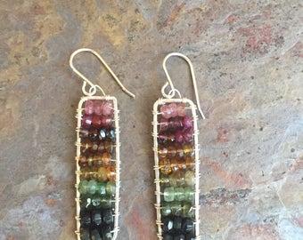 Tourmaline gemstone sterling silver statement earrings