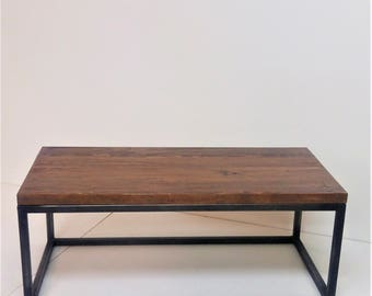 Reclaimed Wood Coffee Table - Wilner Design - Solid Reclaimed Wood and Steel Table - Modern Design