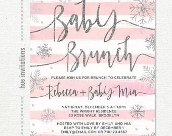 winter baby shower brunch invitation girl, snowflake baby shower invitation, pink stripes silver glitter customized printable digital file