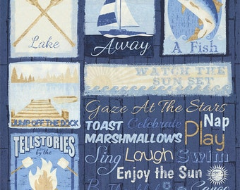 """Lake House Rules Fabric BY THE PANEL; C4739; Novelty Fabric; Timeless Treasures; 23"""" x width; Blue Fabric; Lake Fabric; Boating; Fish"""