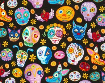 Sugar Skulls and Animals Fabric Fat Quarter, Third Yard, Half Yard, or By The Yard; C5458; Timeless Treasures; Mexican Joy by Marti McGinnis