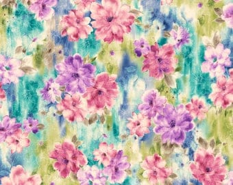 Watercolor Floral Fabric Fat Quarter, Third Yard, Half Yard, or By-The-Yard; 25866-X; Quilting Treasures; Ariel; Floral Fabric; Studio 8