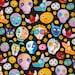 Sugar Skulls and Animals Fabric Fat Quarter, Third Yard, Half Yard, or By The Yard; C5458; Timeless Treasures; Mexican Joy by Marti McGinnis