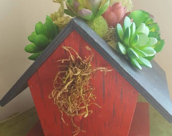 Succulent Arrangement in Birdhouse, Small Succulent,  Fake Succulent, Bird House, Succulent Grouping, Small Green Plant, Gardening Decor