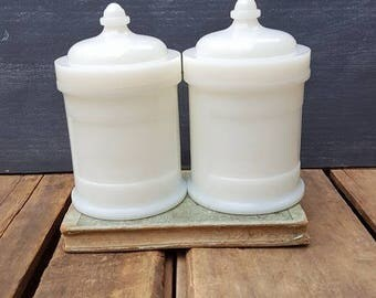 Vintage Hazel Atlas Apothecary Jars, White Milk Glass Bathroom Storage, Slag Glass