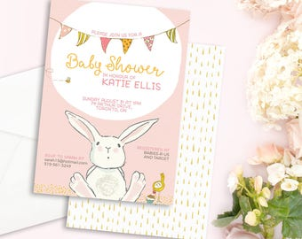 Bunny Baby Shower Invitation - Pink Baby Shower Invite - Bunny Baby Shower - Rabbit Baby Shower - Girl Baby Shower Invitation - Digital File