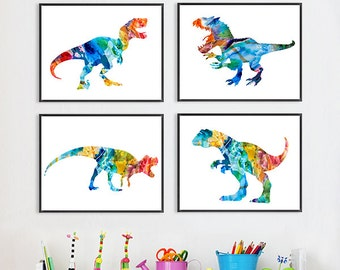 Dinosaur Art Print, nursery dinosaur print, colorful kids wall art, dino print, dinosaur print, nursery canvas art, nursery art decor - S13