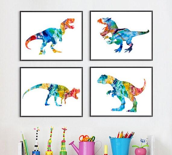Dinosaur art print nursery dinosaur print colorful kids wall for Home decor s13 9ad