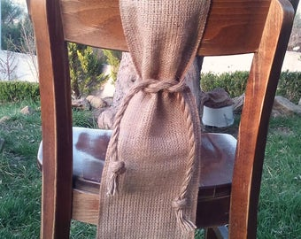 Nautical Chair Sash - Burlap Chair Swag - Burlap Chair Sash -  Burlap Chair Tie - Wedding Chair Sash - Rustic Wedding Chair Sash - Set of 10