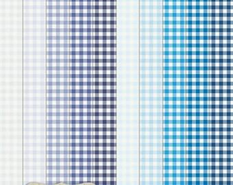 "Digital Printable Scrapbook Craft Paper - Gingham in Blue Shades - Plaid Tartan Navy Blue Pastel Blue - 12 x 12"" - PU/CU Commercial Use"