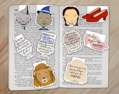 Wizard of Oz Magnetic Bookmark Set - Tin Man, Dorothy, Ruby Slippers, Cowardly Lion, and Scarecrow Clips