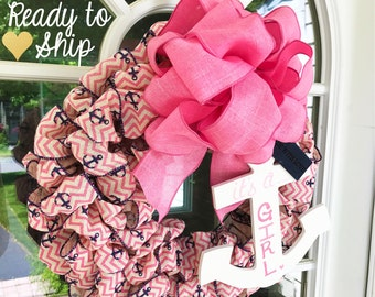 "It's a Girl, Anchor/Nautical Theme Welcome Wreath (FREE PERSONALIZATION) ""Ready to Ship"""